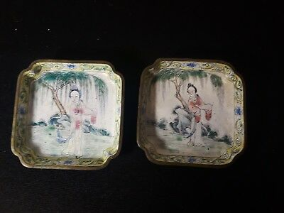 2 Antique Chinese Canton Hand Painted Enamel On Brass miniature dishes
