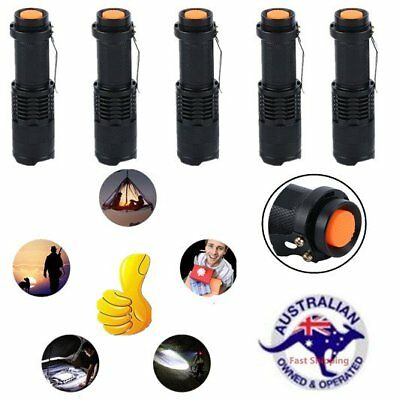 5x Q5 CREE Waterproof  LED Zoomable Focus Bright Flashlight Torch 1200LM Light
