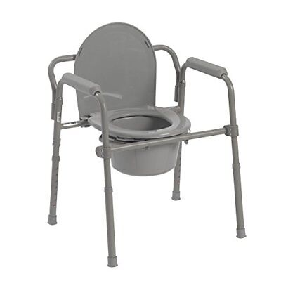 Medical Steel Folding Bedside Commode Grey / Toilet Chair Safety Seart NEW