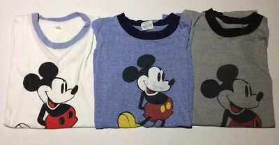 Lot Of 3 Authentic Vintage Disney Mickey Mouse Ringer T-Shirt Large USA 70s 80s