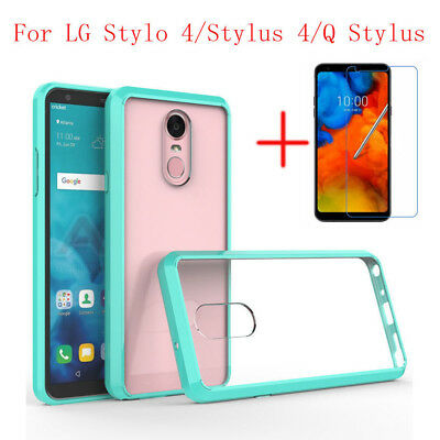 Shockproof Clear Case Cover +Tempered Glass Protector for LG Stylo 4 / Q Stylus
