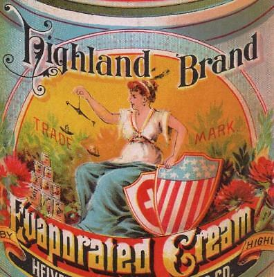 12 panel Diecut fold-out ad card  Highland Evaporated Cream  Patriotic Columbia