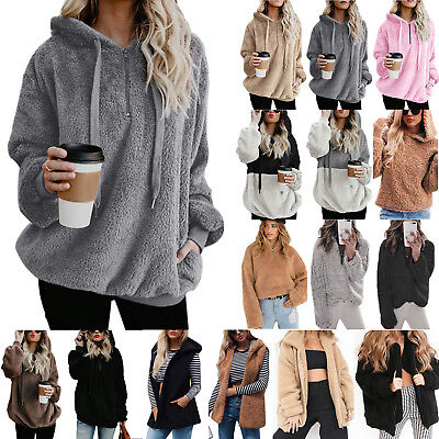 Womens Faux Fur Teddy Bear Fleece Coat Ladies Jacket Sweater Hooded Overcoat US