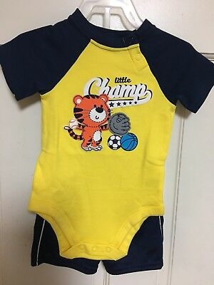 "Boys Clothes Kids Pants Set Toddler Shorts Set Outfit ""Little Champ"" Tiger"