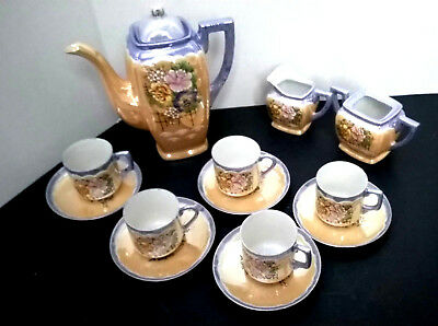 Peach-Blue Luster Demitasse 14-piece Coffee Pot Set. Made in Japan. 1920s-1930s.