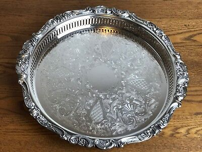 "Vintage Wallace Baroque Silverplate Serving Tray #289 14"" Pierced Sides VG Cond"