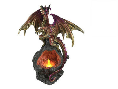 Dragon Flame Cave With USB Light Statue Ornament 31 cm