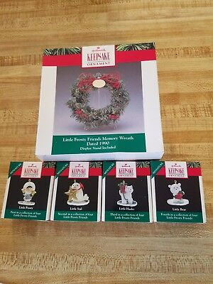 Hallmark Keepsake Little Frosty Friends Memory Wreath and Ornament Set 1990