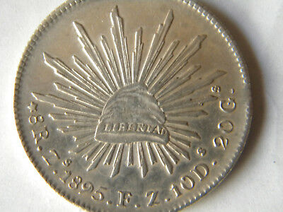 1 mexican coin 8 reales 1895 F.Z zacatecas .903 silver