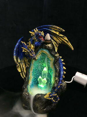 Dragon On Crystal Cave With USB Light & Incense Burner Statue Ornament 18 cm