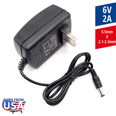 6V 2A Power Supply Adapter, Charger, AC DC Transformer 5.5mm x 2.1-2.5mm 1000ma