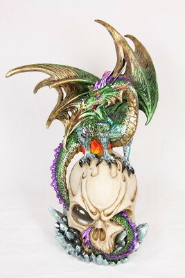 Dragon On Skull With USB Light Statue Ornament 30 cm