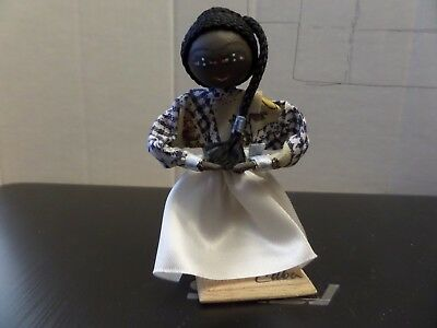 Small wire framed doll From Cuba about 4 inches tall, Head is made of wood,