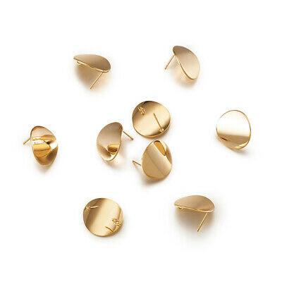 10pcs Gold Plated Brass Round Earring Posts Smooth Stud Findings Back Loop 15mm