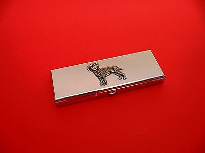 Border Terrier Pewter Motif on Seven day chrome polished pill box gift