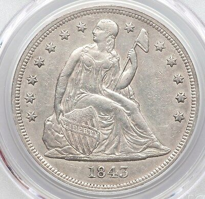 1843 PCGS XF45 Seated Liberty Silver Dollar Better Date only 165,100 mintage