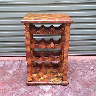 Wooden Timber Wine Rack Cabinet Maple leaves pattern