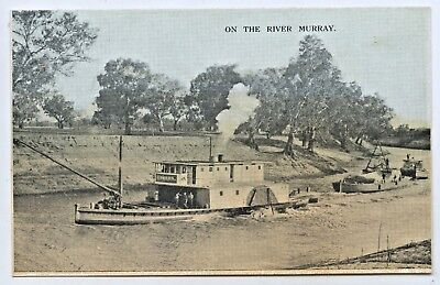 1909 Npu Postcard Of The Paddle Steamer Renmark & Barges River Murray Sa R12.
