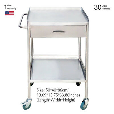 Portable Medical Dental Cart Trolley Two Layer With One Drawer 50*40*86cm New YR