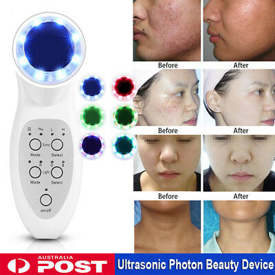 RGB Ultrasonic Massage Photon LED Light Ion Beauty Machine Face Pores Cleaner