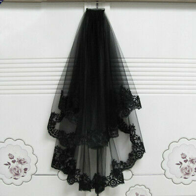 US! Black Wedding Veils With Comb Lace Bridal TulleHalloween Party Dress Cosplay