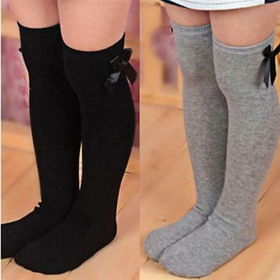 Kids Toddler Girls Princess Black Knee High Warm Socks Stockings Bowknot FW