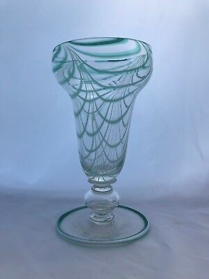Antique American Blown Glass Vase White Looping Pontil Hollow Baluster Stem