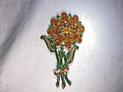 Art Deco - 50er Jahre Brosche Blume Metall vergoldet orange Strass Emaille 10 cm
