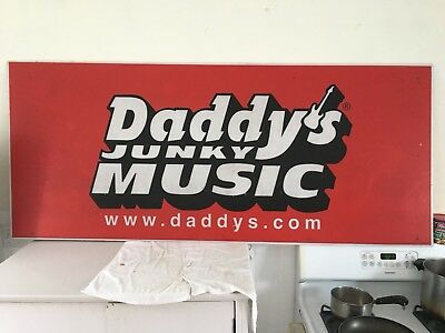 Large Vintage Sign Daddy's Junky Music Store Guitars Drums
