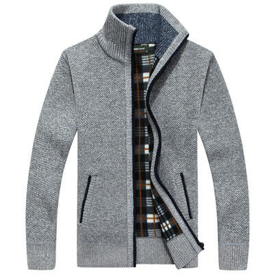 Mens Zip Up Thick Velvet Winter Autumn Knitted Cardigan Classic Jumper Cardigan