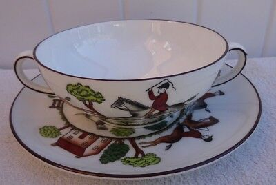 Vintage Crown Staffordshire Hunting Scene Two handle soup bowl & saucer