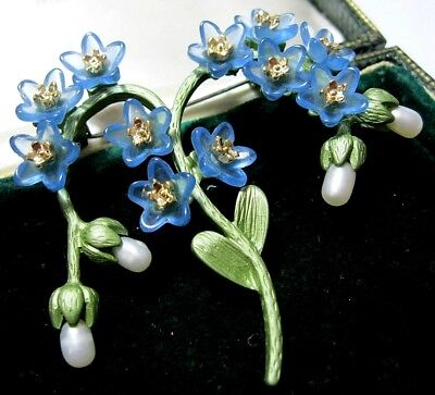 Beautiful Vintage Art Deco Style Enamelled Real Pearl Forget Me Not Pin Brooch