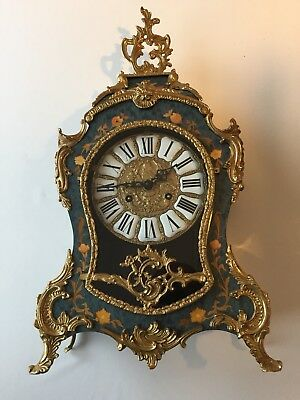 Vintage French Antique Louis XV Boulle Style Mantel Clock Franz Hermle