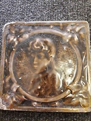 Antique 18th century rare portrait single tile
