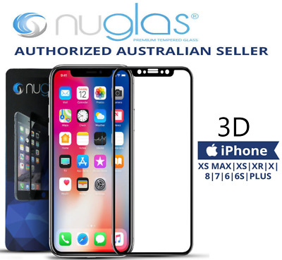 Apple iPhone XS Max X GENUINE NUGLAS 3D FULL Cover Tempered Glass Screen