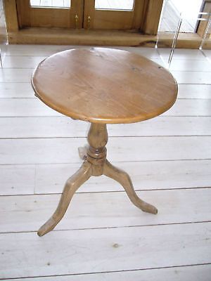 VINTAGE PINE TILT-TOP TABLE, BASE LOOKS LIKE ASH 550mm DIA TOP BY 680mm HIGH