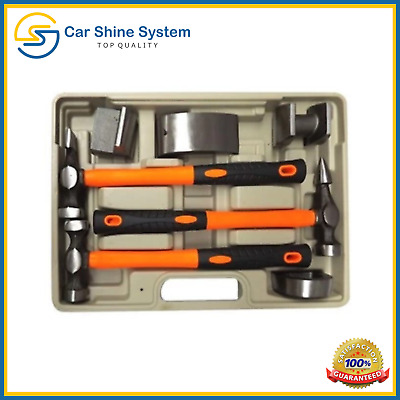Auto Body Fender Set 7pcs Tool Hammer and Dolly Repair Kit Case Hickory