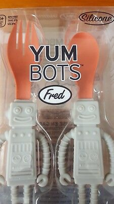 Yum Bots by Fred Robot Toddler/Baby Fork and Spoon Fun Cutlery Set - Brand New