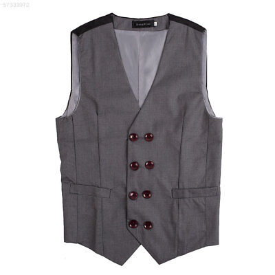 37DF Mens Casual Double breasted Button V Neck Tuxedo Vest Waistcoat Top Grey XL