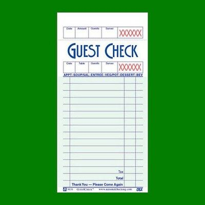 Guest Check Book of 100 Checks - G3616SCC Single Paper Green Bond Free Shipping