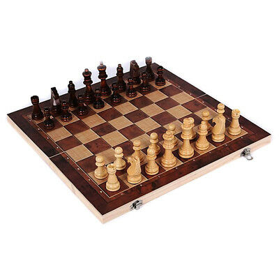 New 3 in 1 Wooden International Chess Set Board Travel Games Chess Draughts