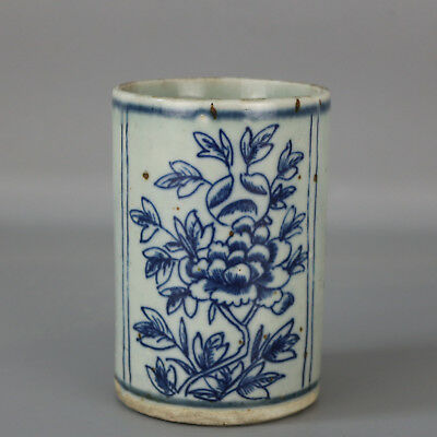 Chinese old hand-carved Blue & white porcelain flower pattern brush pot c01