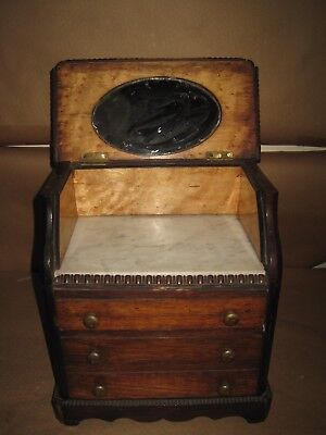 Antique 19thC Miniature Doll Dresser/Bureau With Marble Top, Mirror, 3 Drawers