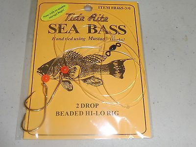 12 Sea Bass Black Tide Rite R465-3/0  2 Drop Beaded Hi-Lo Saltwater Fish Rig