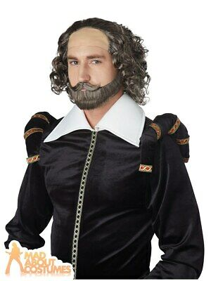 Adult William Shakespeare Wig Mens Poet English Historical Tudor Fancy Dress