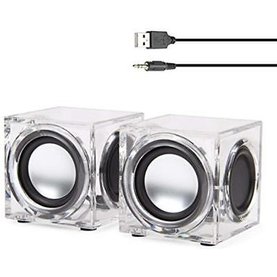 Clear Cube USB Powered Wired PC Speakers SonaVERSE CRS 2.0 Stereo AUX 3.5mm 6W -