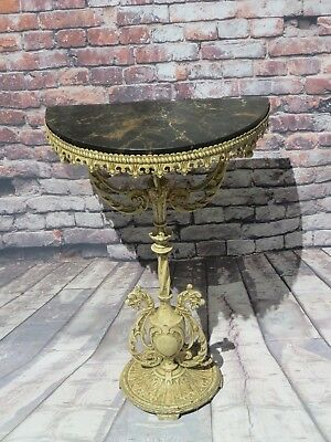 Antique French Cast Iron & Black Marble Demilune Console Table Hallway/foyer