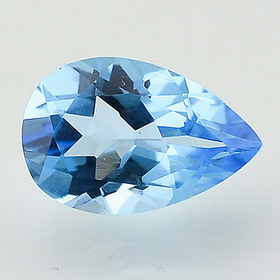 1.96 Cts Natural Swiss Blue Topaz 7x10 mm Pears Cut Loose Gemstone SBT1032