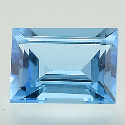 1.9 Cts Natural Swiss Blue Topaz 6x8 mm Baguette Cut Loose Gemstone SBT1027