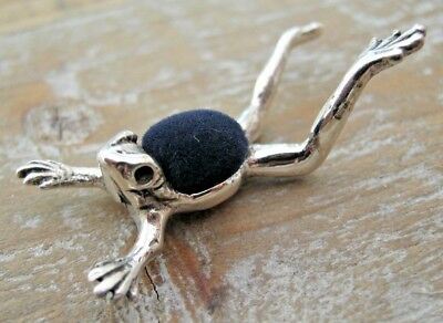 Quirky Unusual Solid Silver Frog Pin Cushion - Great Detail - Blue Velvet